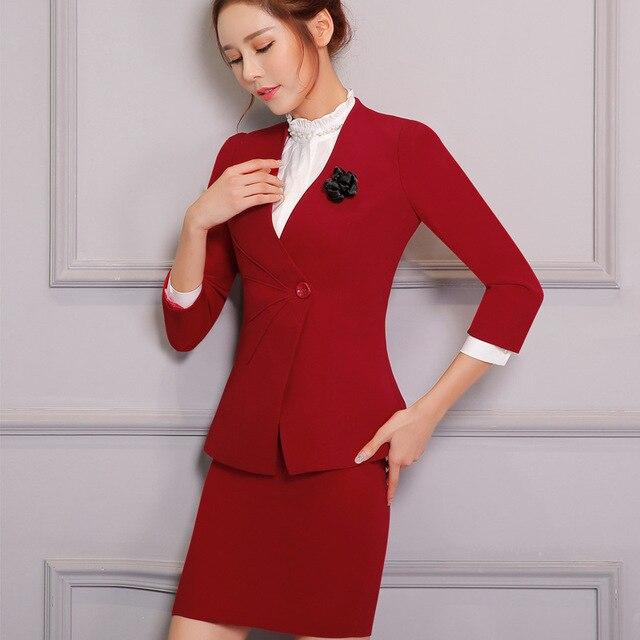 Female models Business Long sleeves Slim Was thin Skirt suit