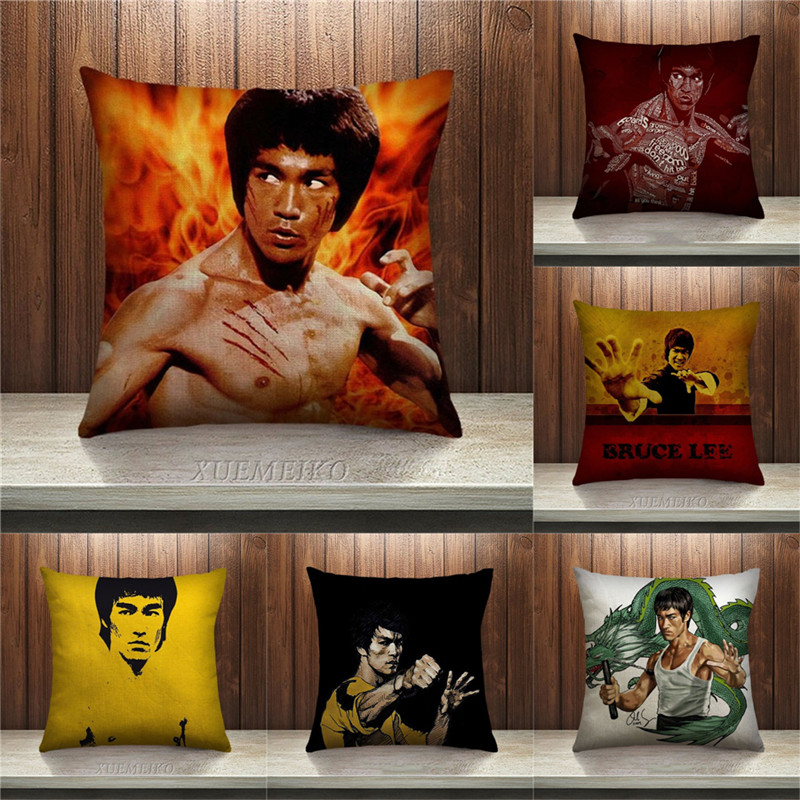 Chinese Kung Fu Cushion Cover Superstar Bruce Lee Pillow case Sofa Bedroom Home Decorative Throw Pillow Cover square Cojines