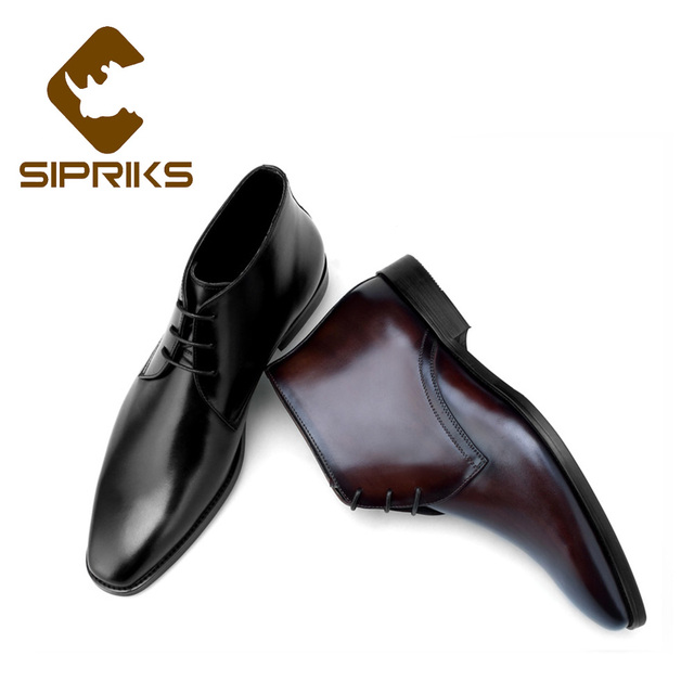 Sipriks Genuine Leather Dark Brown Dress Boots Classic Male Cowboy Leather  Boots Elegant Black High Top Cut Shoes Banquet Boots d4d517f884ff