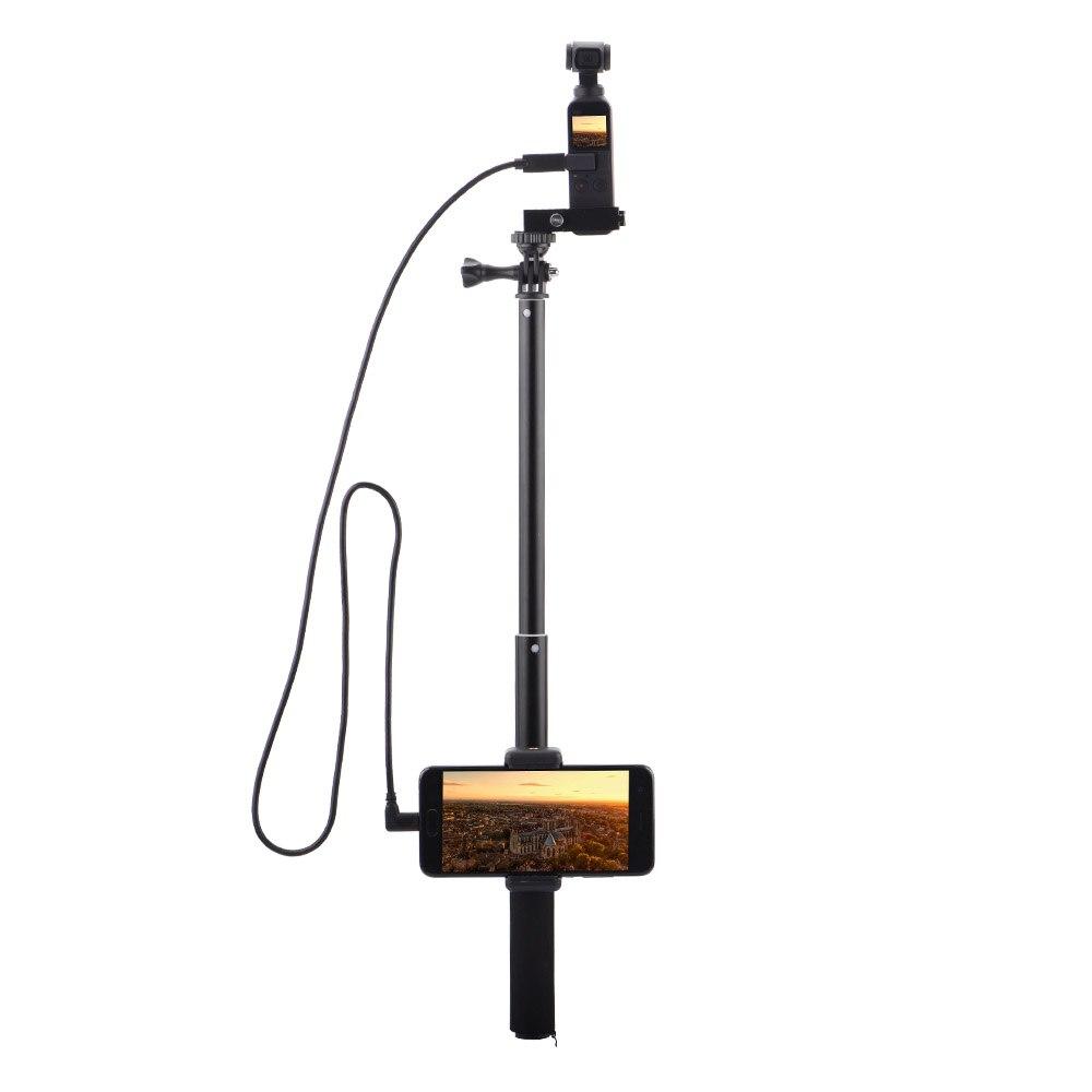 Extensão pólo selfie vara para dji osmo bolso cardan handheld estabilizador com suporte de montagem do telefone cabo de braçadeira para o telefone tipo-c