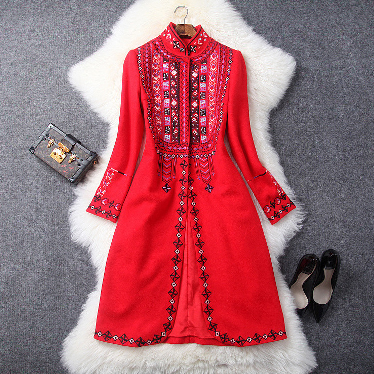 Women Vintage Geometric Pattern Embroidery Coat Stand Collar A-line Mid-length Thick Coats Outerwear New 2018 Autumn Winter Red