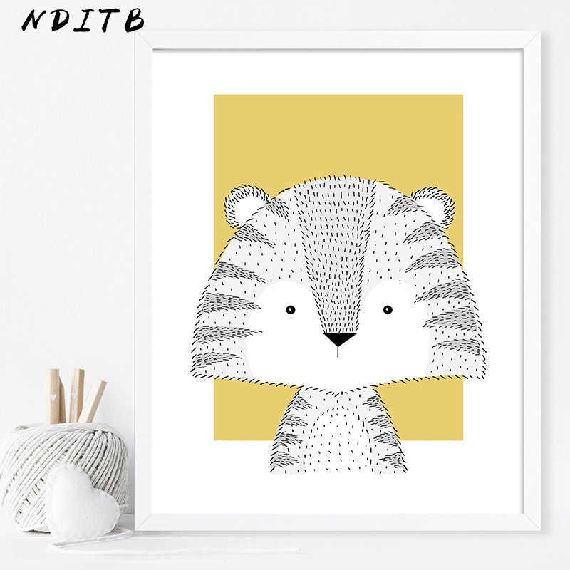 ملصق قماش على شكل قرد أسد حيوانات الغابات للأطفال ملصق فني على الجدران مطبوع عليه رسوم كرتونية أصفر صورة للديكور للأطفال من الشمال