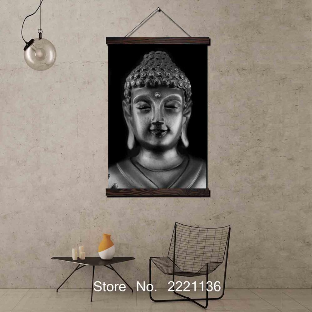 Black Buddha Tradition Framed Scroll Painting HD Wall Art Hanging Canvas Painting HD Printed Pictures for Living Room Decoration in Painting Calligraphy from Home Garden