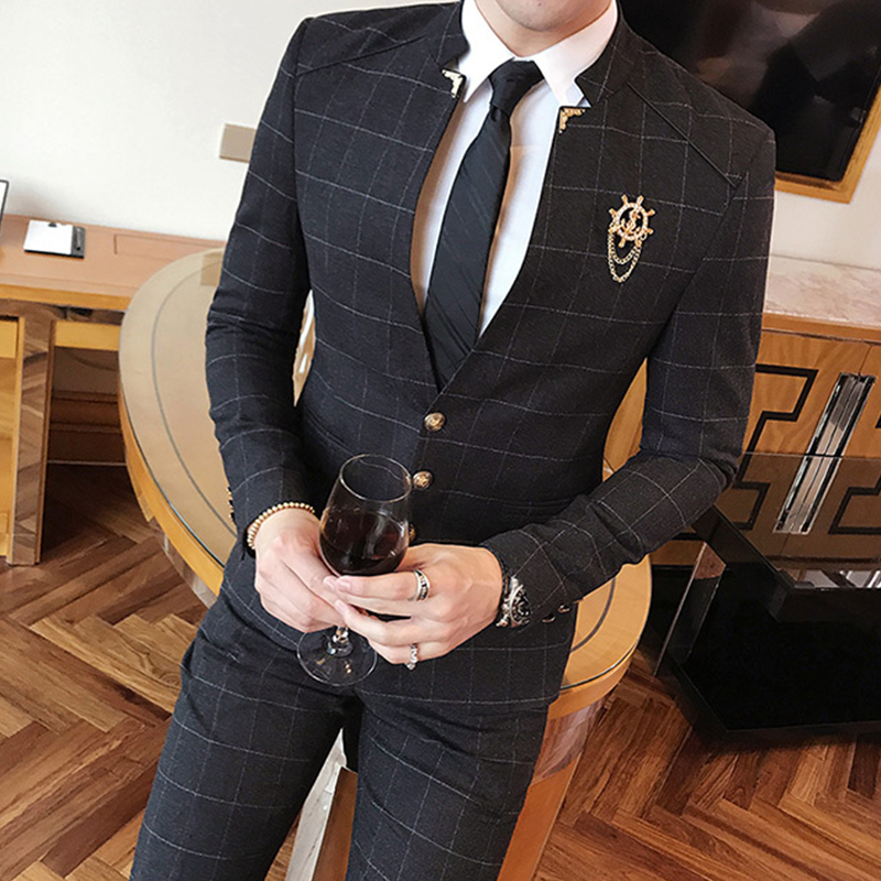 Mandarin Collar Suit Plaid Check Suit Male 2019 Chinese Collar Suit  Business Casual Terno Slim Fit Black Navy Wedding Slim Fit