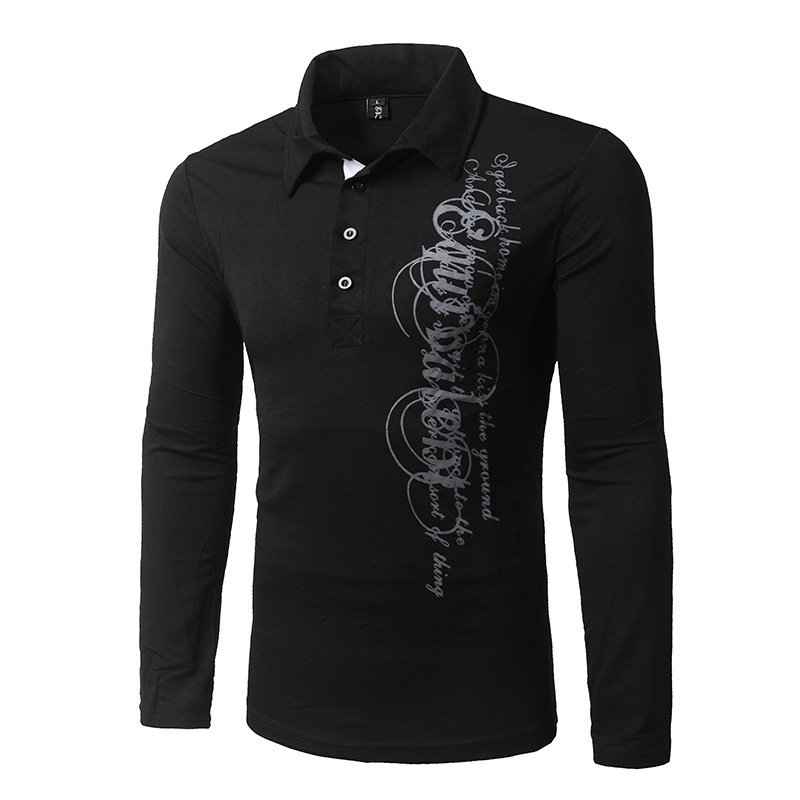 Autumn winter Men Fashion Brands New Long sleeve printing   Polo   Shirt, Men Casual Breathable Solid Color   Polos   European size XXL