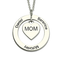 Personalized Moms Heart Necklace with Kids Names The Love Between a Mother and Kids Family Necklace Silver Circle Name Jewelry