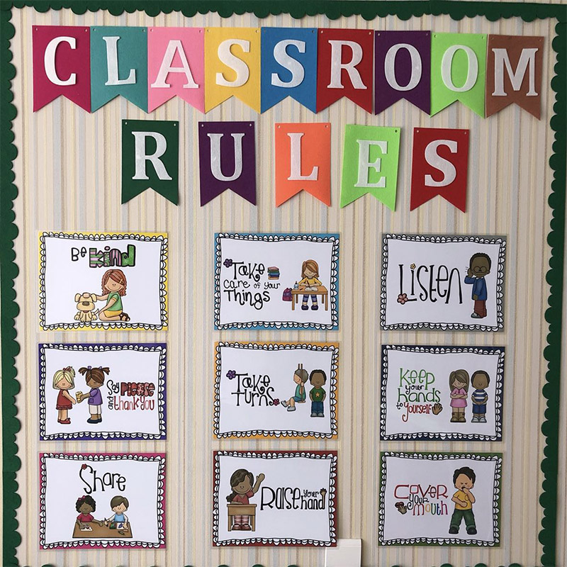 9Pcs English Poster Classroom Rules A4 Big Cards Kindergarten Early Education Good Habits Good Manners Wall Decoration Toys Kids