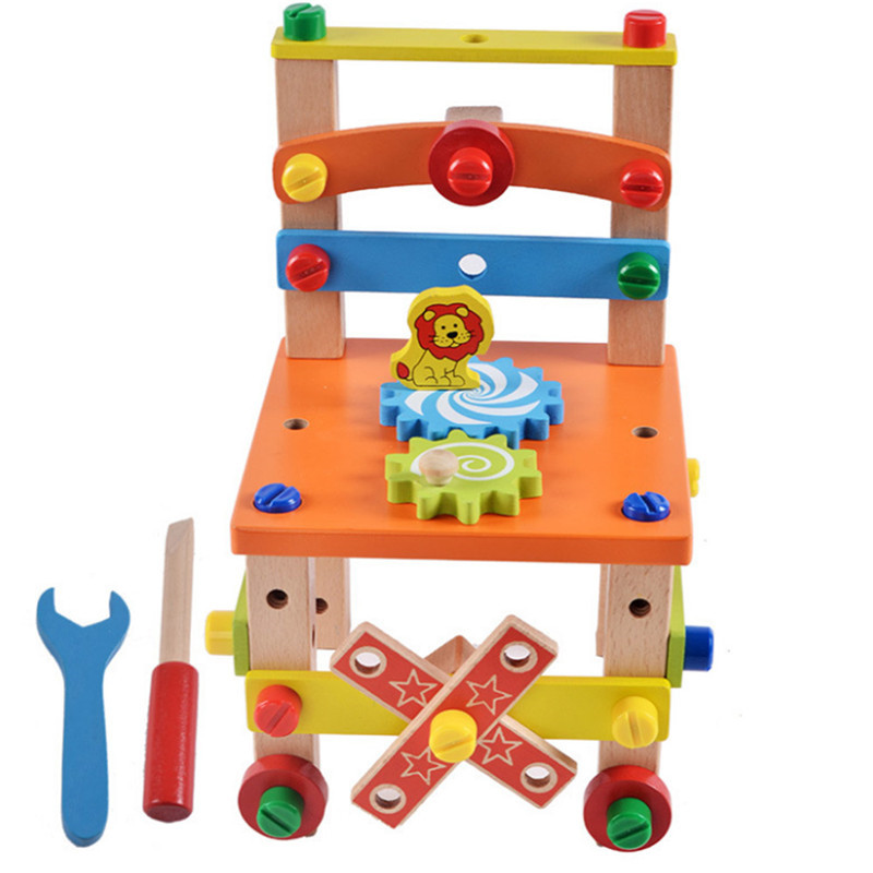 Wooden Nuts and Bolts Set DIY Combination Multifunction Building Puzzle Blocks Carpenter Chair Assemble Toys Kit for Children
