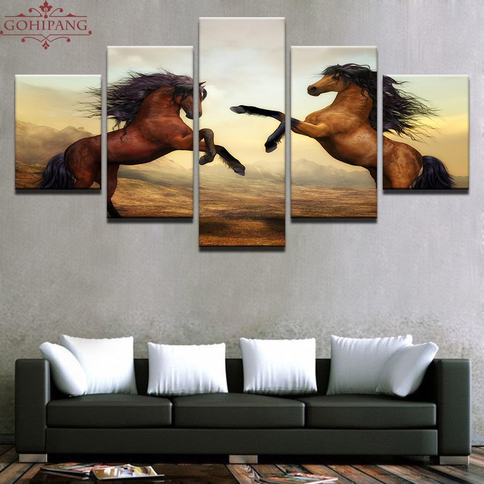 Gohipang Framed Canvas Paintings Home Decor Wall Art Framework 5 Pieces Sunset Brown Horses Pictures For Living Room HD Prints