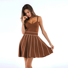 VZFF Women Summer Womens New Dress Sexy Backless Striped Knit Sling Big Swing Casual Fashion