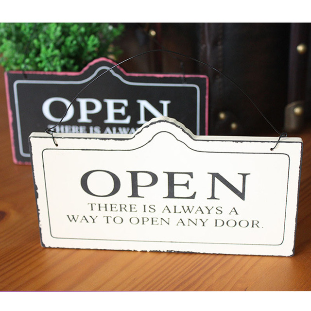 Creative European-styled CLOSED OPEN Double-faced Hanging Door Sign Wood Plate Vintage Decorative & Creative European styled CLOSED OPEN Double faced Hanging Door Sign ...