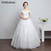 VENSANAC 2018 Beading Tassel Short Sleeve Ball Gown Wedding Dresses Lace Flowers Appliques Sweetheart Sequined Bridal Gowns