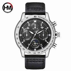 Hannah martin Sport zegarek wojskowy mężczyźni luksusowy Pilot biznesowy zegarek kwarcowy na rękę 30M wodoodporny zegar Relogio Masculino w Zegarki kwarcowe od Zegarki na