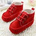 Doce infantil crianças sapatos de bebê botas Lace vermelha macia do algodão Crib Shoes 0 - 18 M