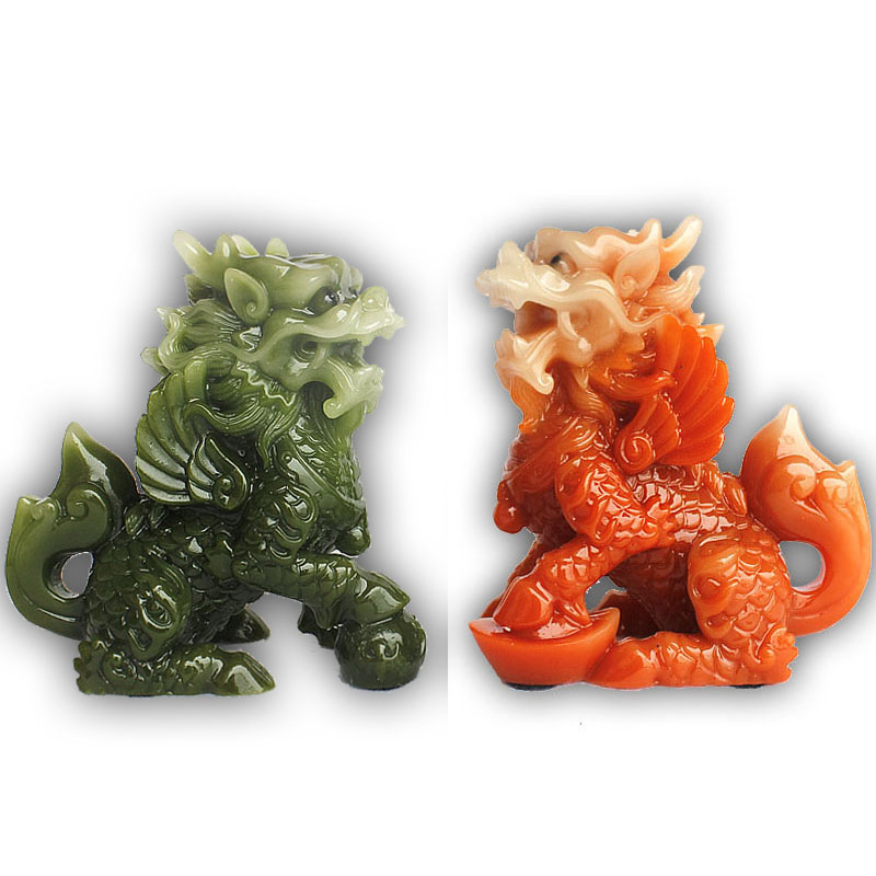 "9/""L Chinses Lucky Green Money Wealth Double Dragon Statue"