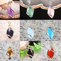 New Natural Amethyst Rose Quartz  Tiger Eye Agate  Turquoise Opal Marquise Bead Pendant 1PCS