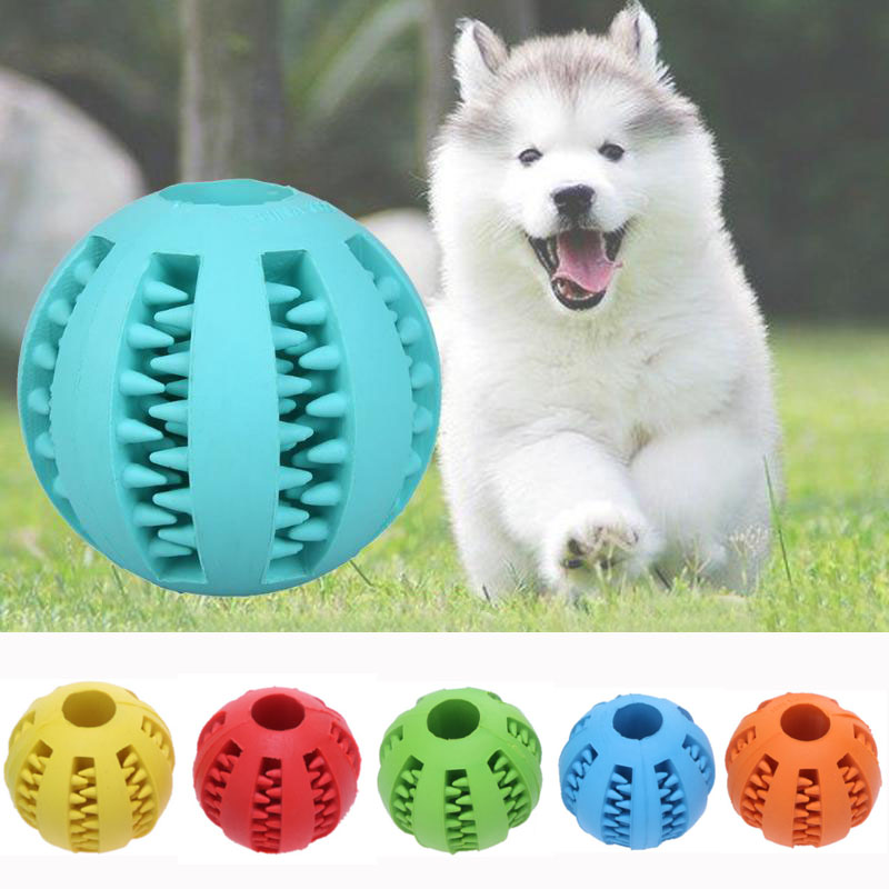 Pet Dog Puppy Cat Rubber Ball Chew Treat Cleaning Training Dental Teething Pet Chew Toy Ball Blue Green Red Yellow