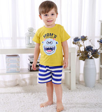Cartoon Kids Tracksuit Moms Little Monster Baby Boy Clothes Cotton T-shirt+Striped Shorts Casual Summer DS19