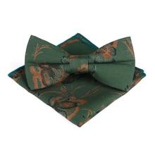 купить Bridegroom Wedding Party Business Men Tuxedo Suit Green Orange Floral Pocket Square Towel Handkerchief Adjustable Bow Tie Set по цене 455.77 рублей