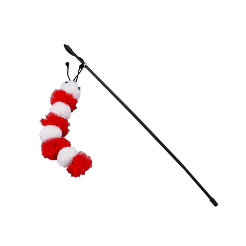 Cat Toys Stick Handmade Artificial Pet Supplies Carpenterworm Shape Plush Ball Bell Long Rod Kitten Cats Interactive Play Toy