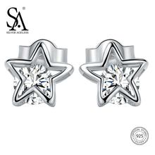 цена SA SILVERAGE 925 Sterling Silver Star Stud Earrings For Women Fine Jewelry Rhinestone Silver Earrings Set Female Double 11 онлайн в 2017 году