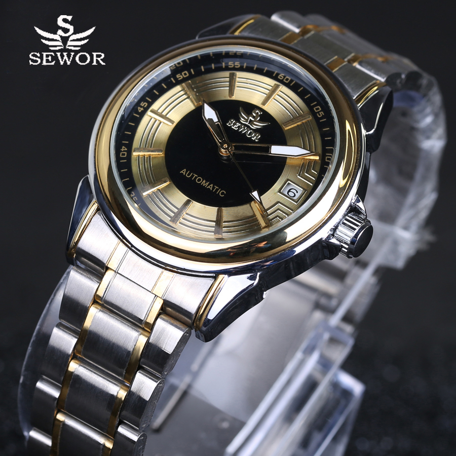 SEWOR 2016 luxury brand military clock stainless steel men casual automatic mechanical watch fashion dress calendar
