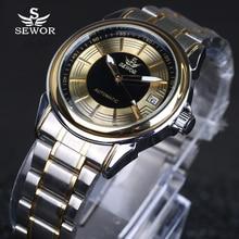 SEWOR 2016 marque de luxe militaire horloge en acier inoxydable hommes casual automatique montre mécanique de mode robe calendrier Montres