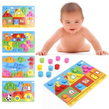 Wooden 3D Puzzle Jigsaw Toys Cartoon Things Color Cognition Match Game Board Educational Toys Children Wooden Puzzles Baby Toys