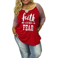 Plus Size Women T Shirt Letters Print Splicing Stripe Tops 2017 Autumn O Neck Three Quarter