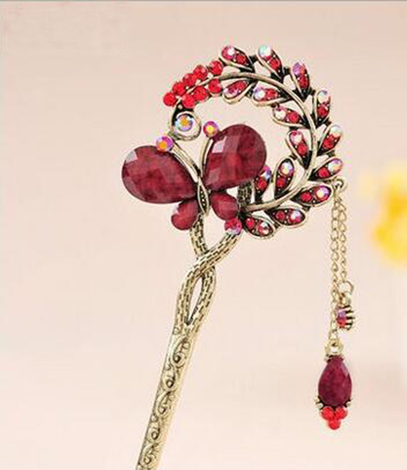 2016 new style Special Ethnic Hair stick Bob Gift Natural stone butterfly Handmade vintage Women jewelry Chinese Style gift