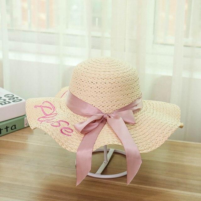 2019 New Hot Sale Women Girls Big Bow Wide Brim Sun Hats Summer Hat Casual Fashion Shade Beach Sunscreen Hat Floppy Straw Caps
