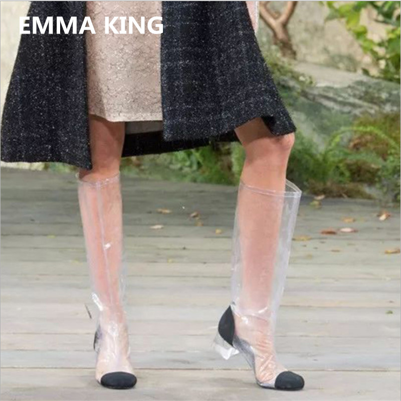 EMMA KING 2018 Women Fashion Low Heel Clear Transparent Knee High Boots PVC Round Toe Crystal Heel Stage Dress Long Boots Women все цены