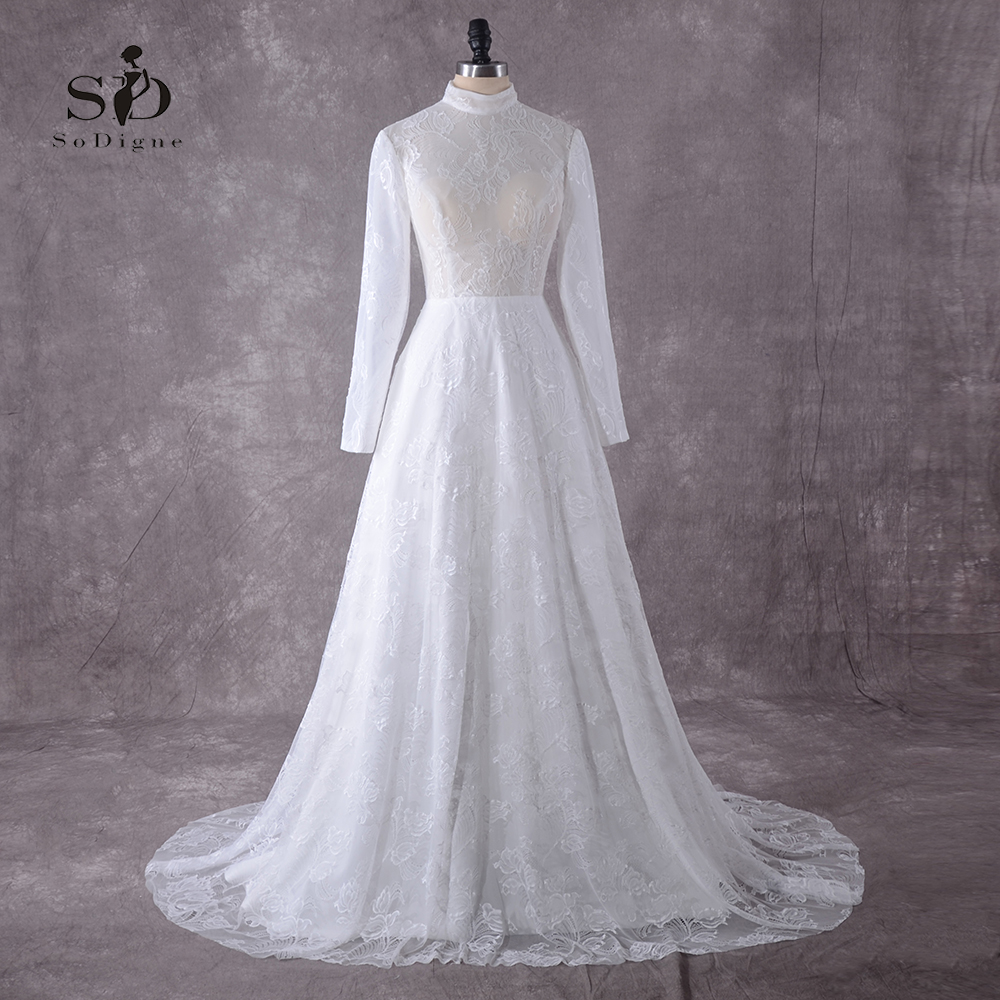 New Arrival Long Sleeves Muslim Wedding Dresses 2018 Plus Size Lace Bridal Dress White/Lvory A-line Custom Made