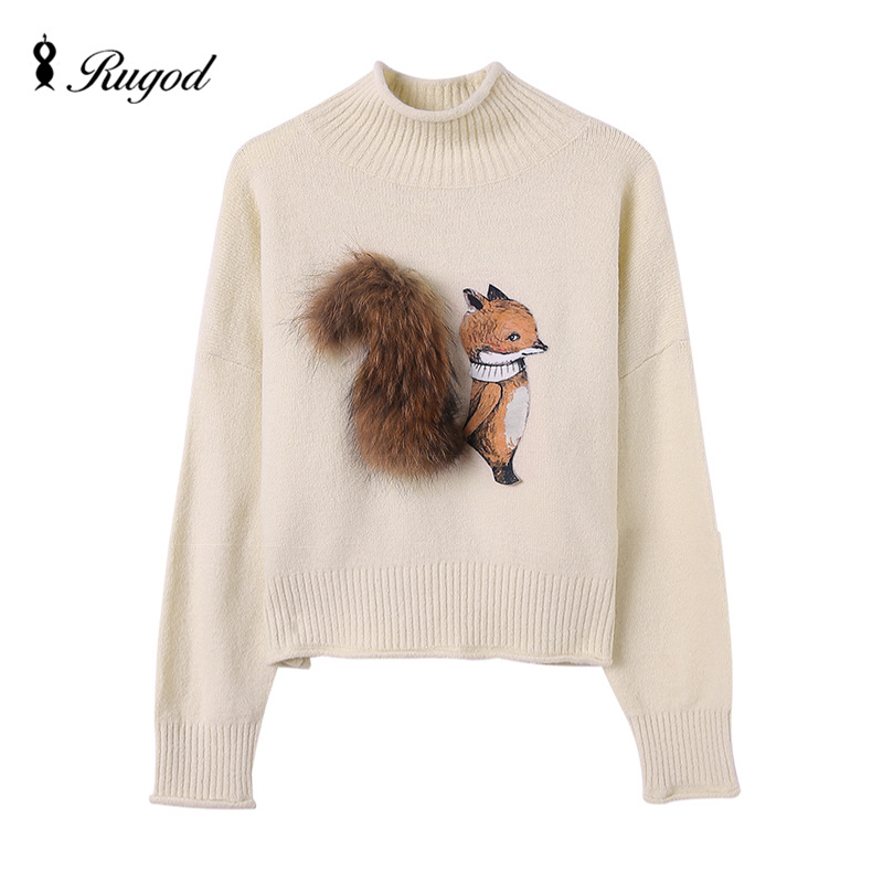 2e80b73c93 Cashmere Sweater Women Winter Sweaters and Pullovers Fox with Real Fur Tail  Pull Femme Manche Longue
