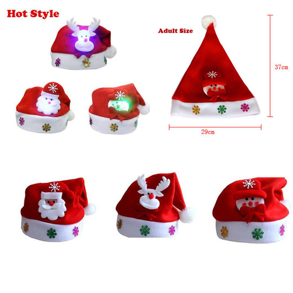 Hot Adult LED Christmas Lighting Hat Santa Claus Reindeer Snowman Xmas Gifts Cap Night Lamp Lighting Decoration