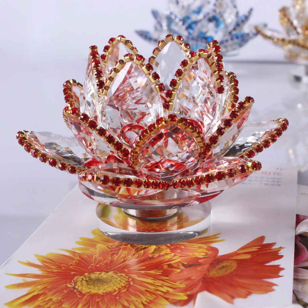 Good Price 33 Inches Rotating Crystal Glass Lotus Flower Craft Home