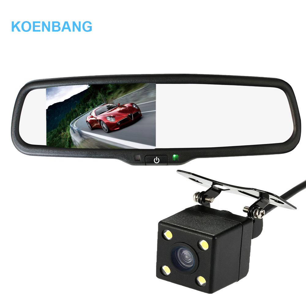 KOENBANG 4 3 LCD Car Rearview Mirror Monitor 1000cd m2 2 way Video Input 4 LED
