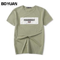 BOYUAN Brand T Shirt Men Tshirt Short Sleeve O Neck Casual Fashion Front Printed Summer T