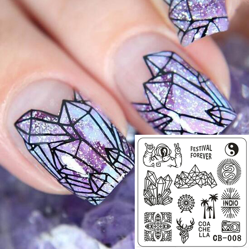Ny Ankomst 6 * 6cm Geometri Serie Triangle 3D Nail Art Tools Stamping Template Stencil Nail Image Plater for Manicure CB008