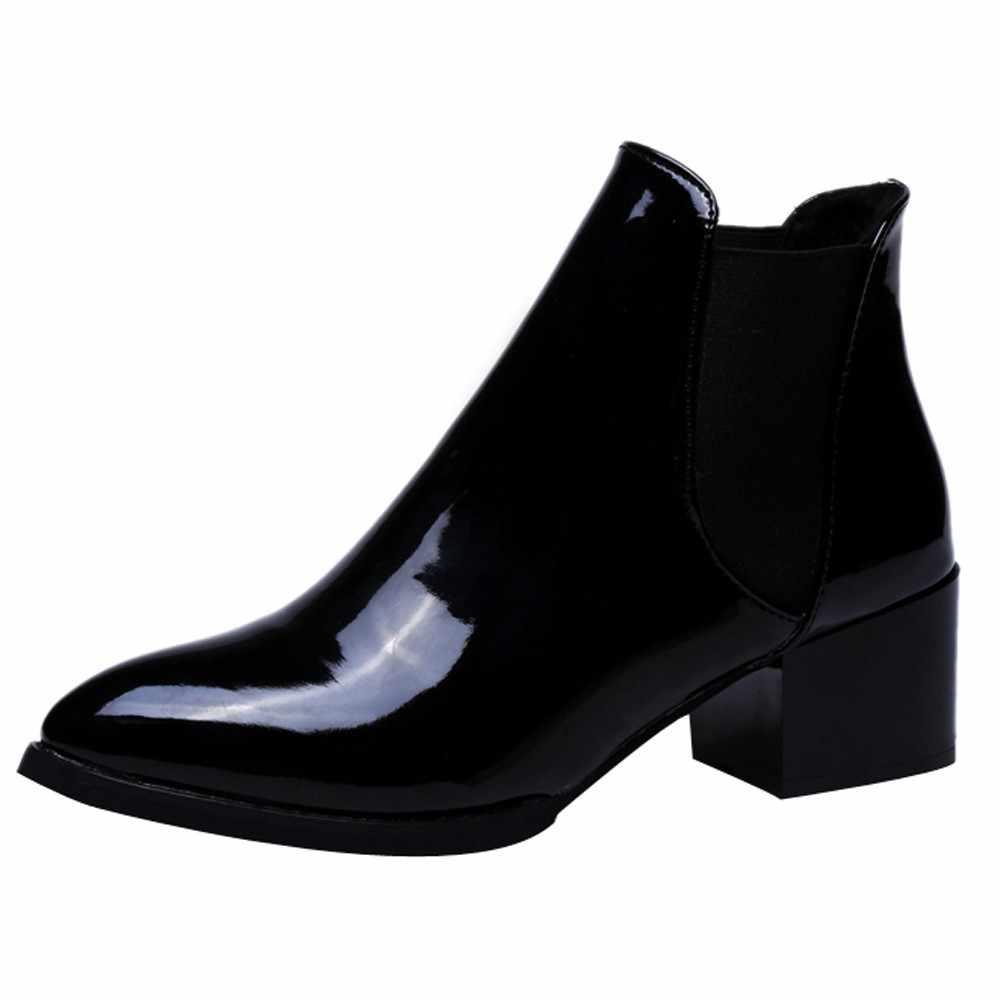 Sagace 2020 di Nuovo Modo di Arrivo Scarpe da Donna Stivali Elastico Alla Caviglia in Vernice Stivali a Punta Tacco Basso Stivali Scarpe Sexy