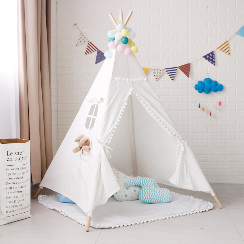 White Pom Pom Teepee Tent for Kids Childrens Tipi Indian Tent flower decorated kids headband with pom pom