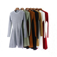 2018 Winter Casual Sweater Dress Women O neck Long Sleeve A Line Knitted Mini Dresses Female Slim Brown Black Red Grey Vestidos