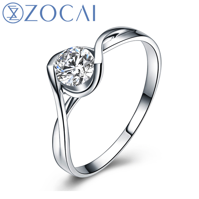 ZOCAI BRAND TILTING THE WORLD KISS 0.15 CT CERTIFIED H/SI DIAMOND ENGAGEMENT RING ROUND CUT 18K WHITE GOLD  W02572
