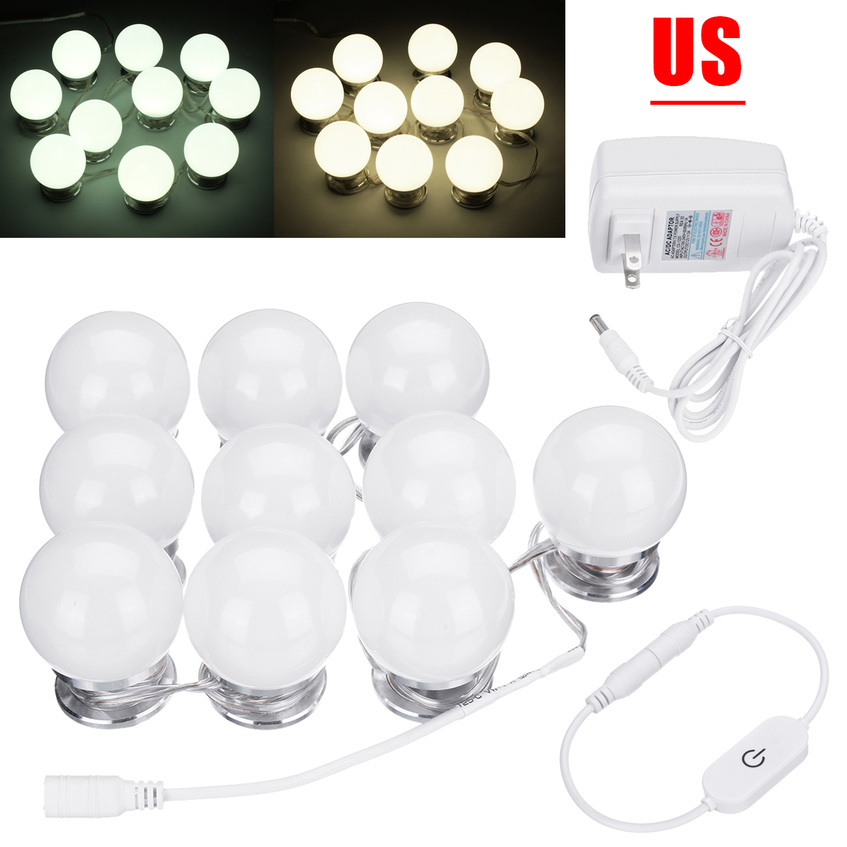 10pcs Makeup Mirror Vanity LED Light Bulbs Hollywood Style Cosmetic Lamp Dimmable for Dr ...