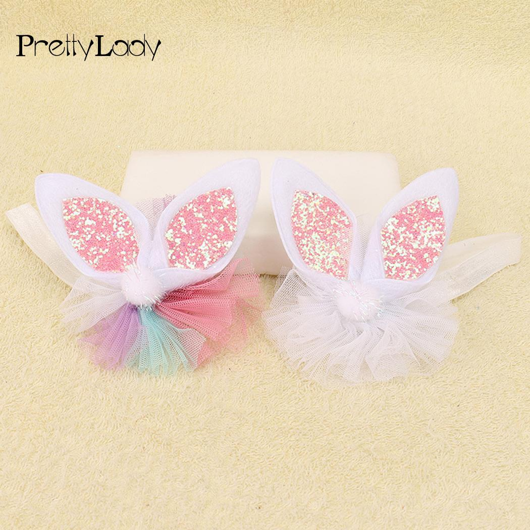 Accessories Hair Sequins Headbands Girls Mesh Ears Baby Elastic Rabbit Hairbands