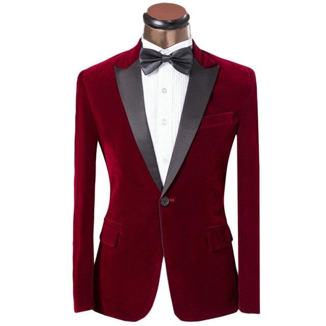Blazers For Rent: 2017 New Elegant Red/Royal Blue/Black Velvet Groom Tuxedo