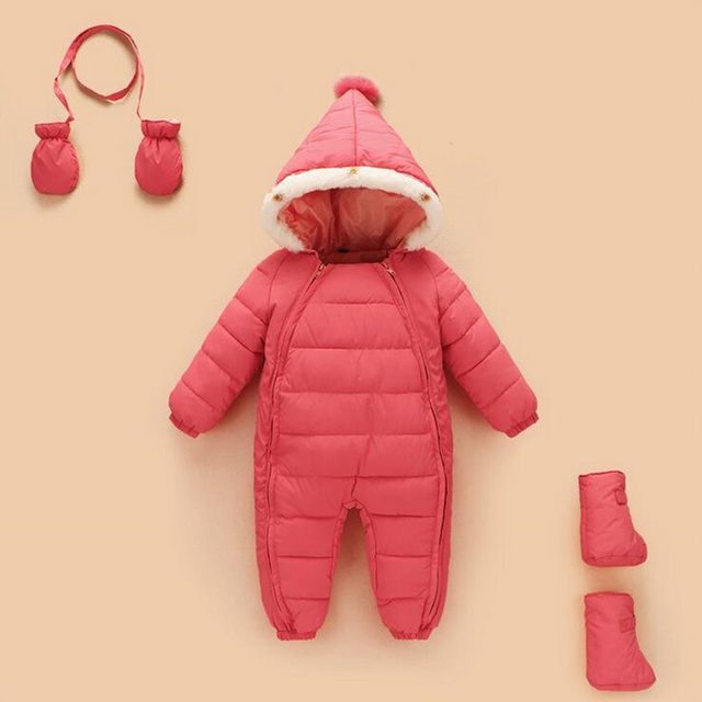Bebê Roupas de inverno Sólidos Manga Comprida Com Capuz Quente 3 pcs Romper + Sapatos + Luvas de Algodão Macacão de Inverno Bebê Recém-nascido Romper do bebê