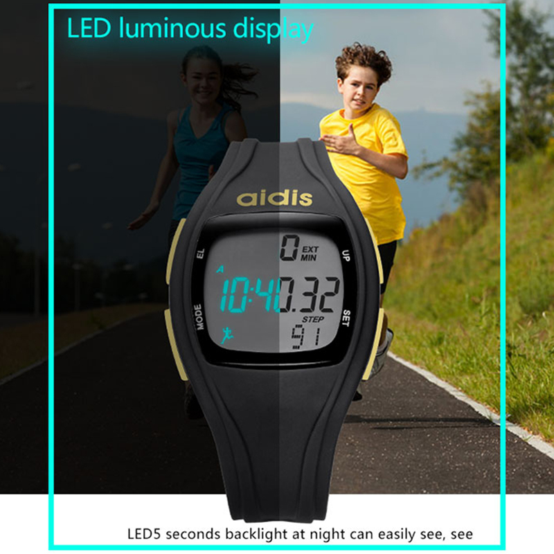 Aidis Sport Clock Running Pedometer Watches Luminous Waterproof Girl Wristwatch Electronic Watches Kid Reloj Deportivo Mujer