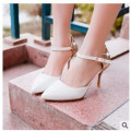 Lady big size 4-15 Elegant Summer Glitter buckle strap soft Pointed toe thin high heeled sandals shoes women pumps 5colors girls