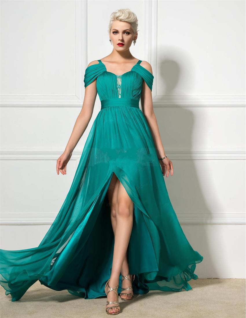 896dbef82 Nuevo estilo De Color verde esmeralda De la gasa largos eventos vestido De  noche con delantero De Split mujeres vestido De Vestidos De Fiesta en  Vestidos de ...